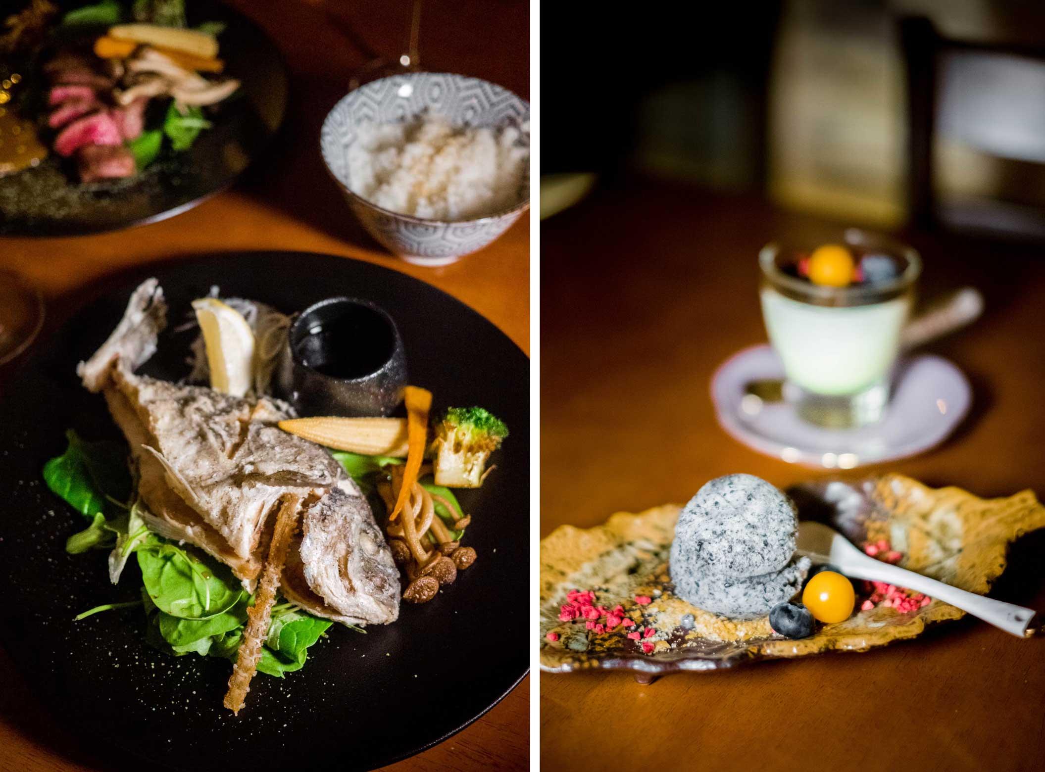 Kala filee koka valmistatud kastmes+Musta seesami jäätis