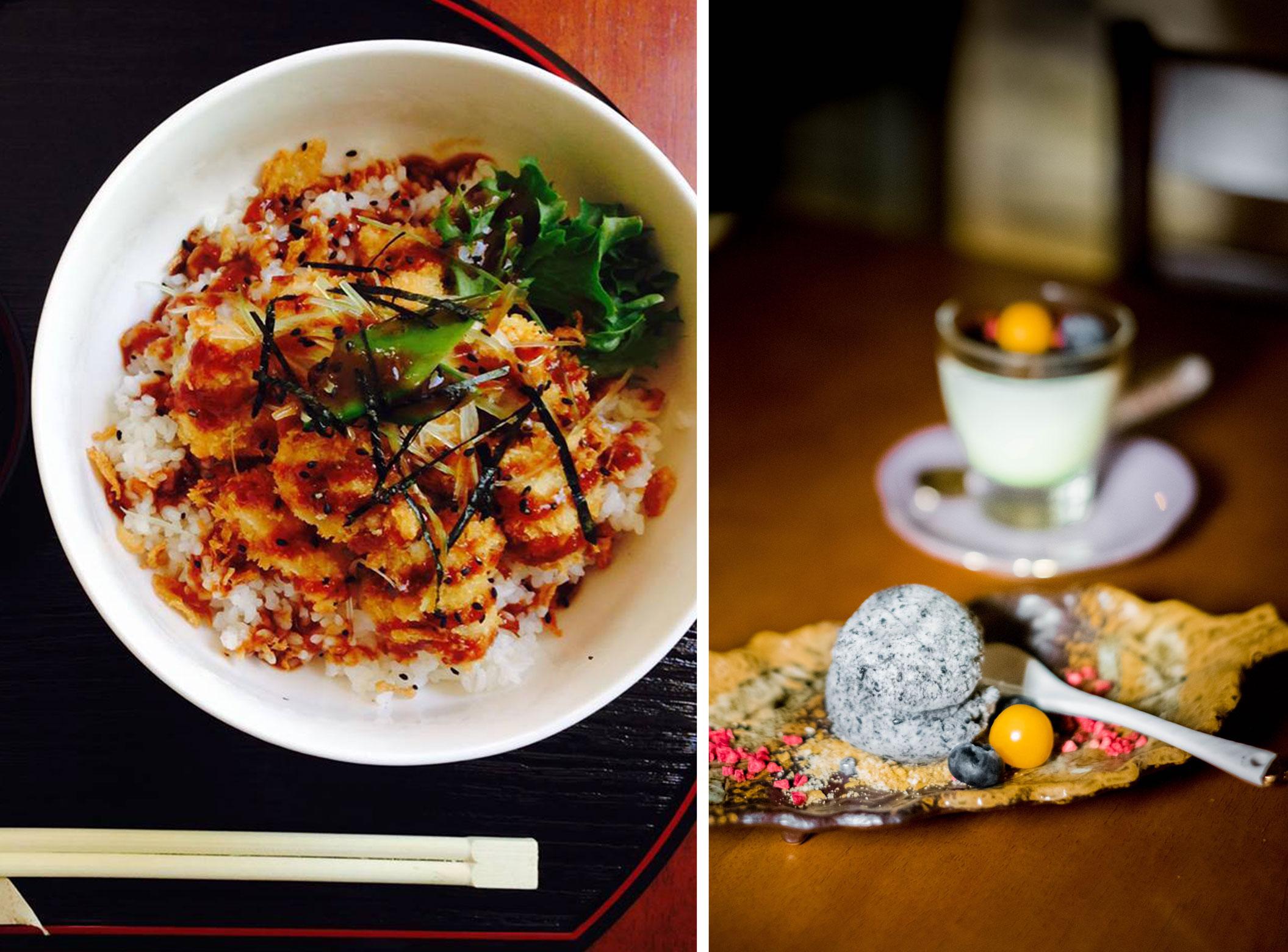 Kana teriyaki kastmes, aurutatud riis + Musta seesami jäätis